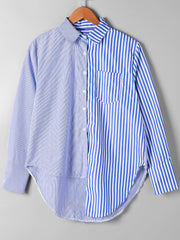 Patch Pocket Striped Asymmetrical Shirt