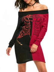 Halloween Skeleton Off The Shoulder Jumper Dress