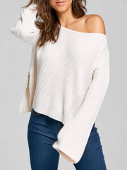 Ribbed Knit One Shoulder Sweater