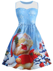 Christmas Snowflake Cat Print Mesh Panel Dress