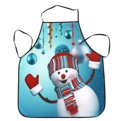 Christmas Snowman Balls Print Waterproof Cooking Apron
