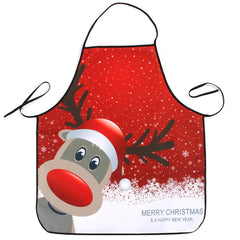 Christmas Deer Print Waterproof Kitchen Apron