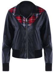 Plaid Panel PU Leather Zip Up Jacket