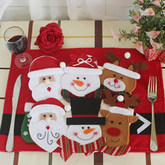 6Pcs Christmas Decor Knives And Forks Tableware Bags