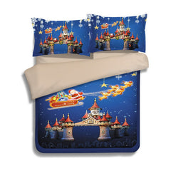 Christmas Sled Castle Print 3Pcs Polyester Fiber Bedding Sets