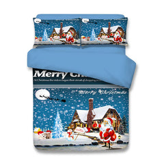 Snowy Christmas Night Santa Print 3PCS Bedding Set