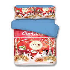 Christmas Santa Claus Snowman Print 3PCS Bedding Set