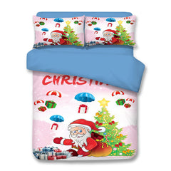 Christmas Tree Gifts Santa Print 3PCS Bedding Set