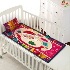 Santa Claus Print Christmas Children Bed Matting with Pillowcase