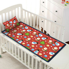 Christmas Elements Print Viscose Fiber Children Bed Matting with Pillowcase