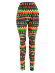 Geometric Print Multicolor Workout Leggings