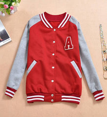Casual Round Collar Stripe Letter Pattern Long Sleeves Women's Coat