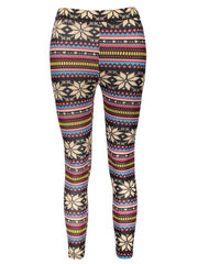 Vintage Colorful Snowflake Printed Bodycon Leggings For Women