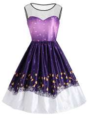Star Night Print Lace Panel Vintage Dress