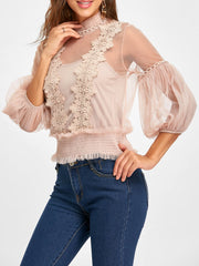 Mock Neck Applique Mesh Top with Camisole
