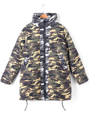 Zip Up Camo Print Coat