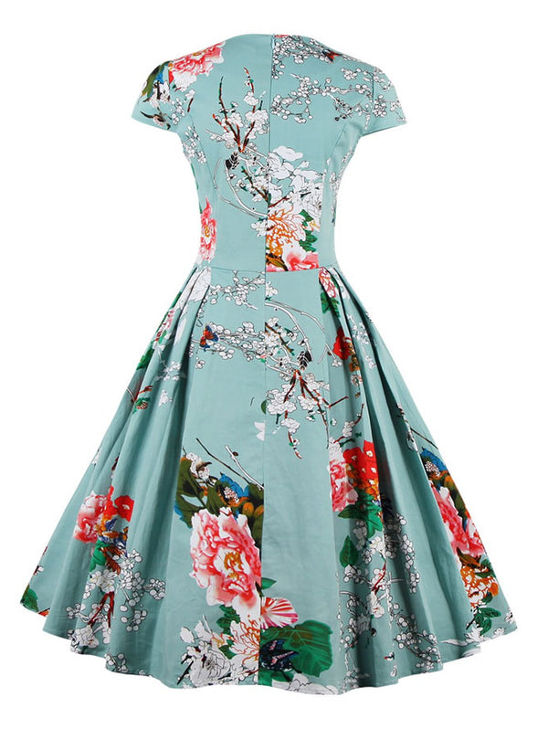 Retro Sweetheart Neck Cap Sleeve Floral Print Flare Dress