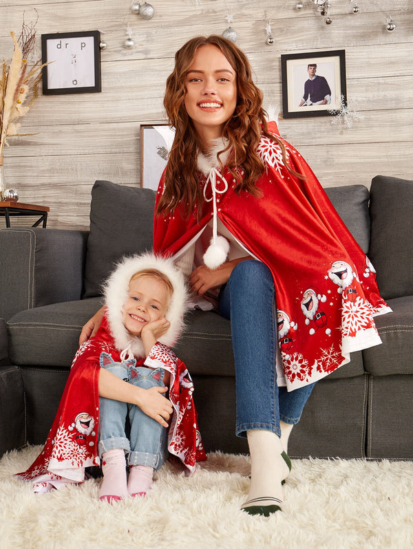 Print Velvet Matching Family Christmas Costume