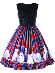 Kitten Striped Flounced Swing Dress