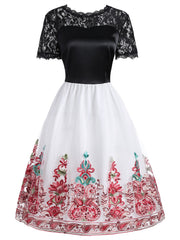 Lace Insert Embroidered Mesh Vintage Dress