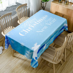 Christmas Happy New Year Print Waterproof Fabric Table Cloth