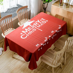 Merry Christmas Tree Print Waterproof Fabric Table Cloth