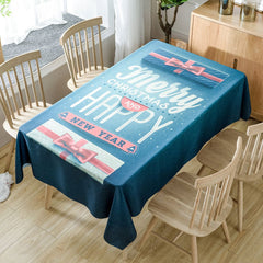 Christmas Greeting Word Printed Waterproof Fabric Table Cloth
