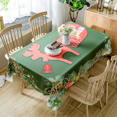 Christmas Pine Ornaments Print Waterproof Fabric Tablecloth