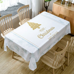 Christmas Theme Greetings Print Waterproof Fabric Tablecloth
