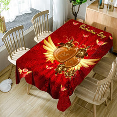 Valentine's Day Hearts with Wings Print Waterproof Table Cloth