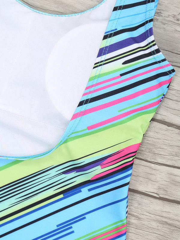 Colored Striped U Neck Padded One Piece