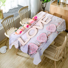 Valentine's Day Roses Love Hearts Pattern Waterproof Table Cloth