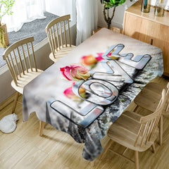 Valentine's Day Love Pattern Waterproof Table Cloth