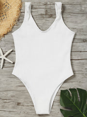 No Pad Ribbed High Leg One Piece Swimwear