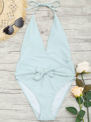 Plunge Front Low Back Tied Swimsuit