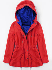 Hooded Drawstring Jacket with Heating Piece