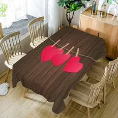 Heart and Wood Grain Waterproof Table Cloth