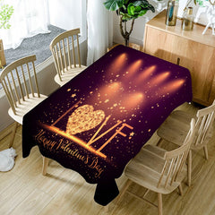 Valentines Day Love Radiance Print Waterproof Table Cloth