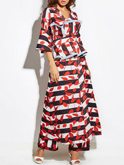 Bell Sleeve Leaves Print Striped Maxi Coat