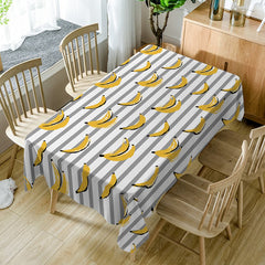 Bananas Striped Print Waterproof Dining Table Cloth