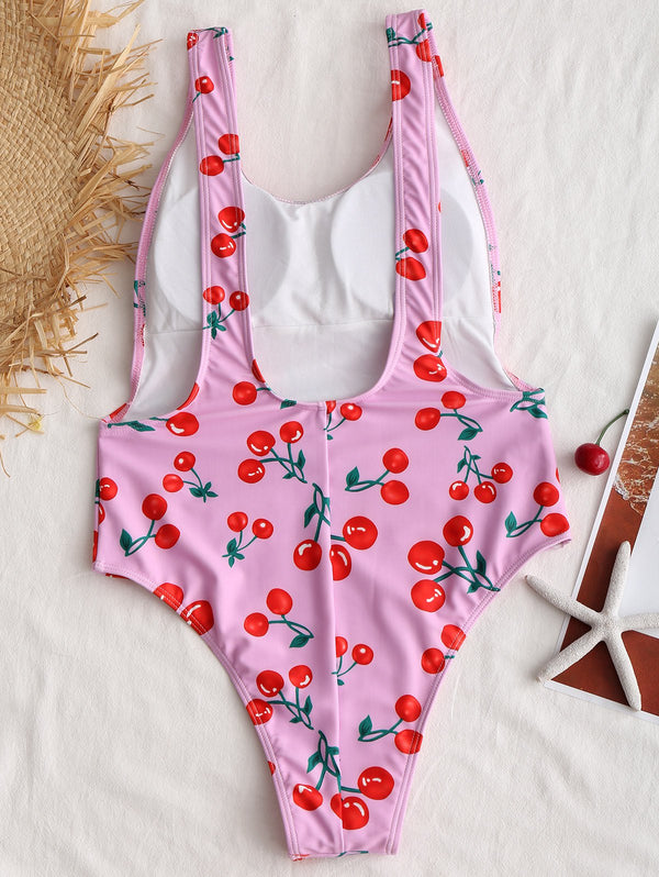 Cherry Print Low Back One Piece Swimsuit