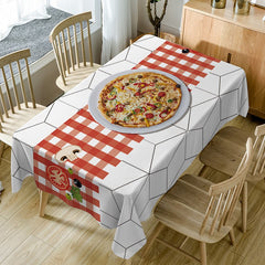 Pizza Plaid Print Waterproof Fabric Table Cloth
