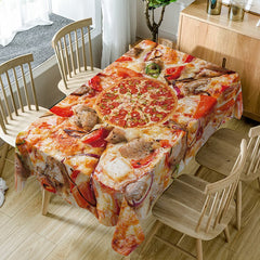 Pizza Print Fabric Waterproof Table Cloth