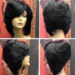 Short Upwards Side Bang Layered Straight Feathered Inverted Bob Synthetic Wig