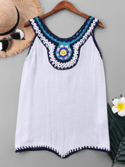 Crochet Trim Sleeveless Cover Up Top