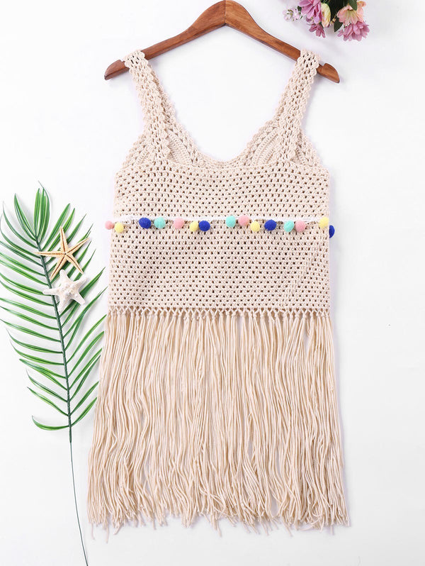 Sleeveless Fringe Cover Up Top