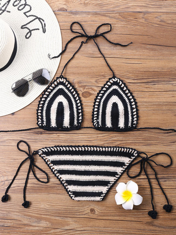 Stripe Crochet Halter Bikini Set
