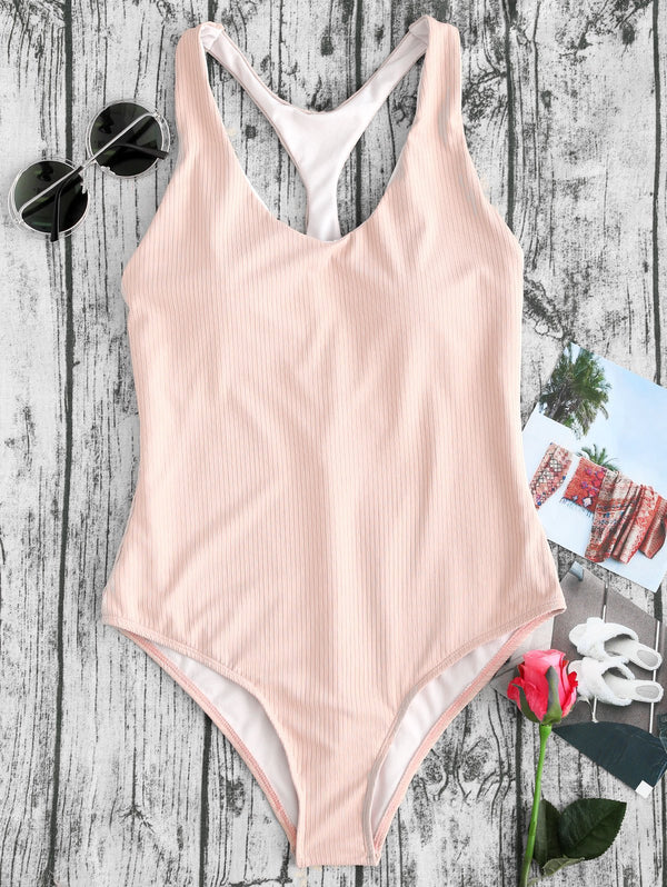 Ribbed Racerback One Piece Thong Swimsuit