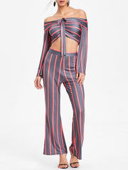 Stripe Wide Leg Pants and Flare Sleeve Crop Top