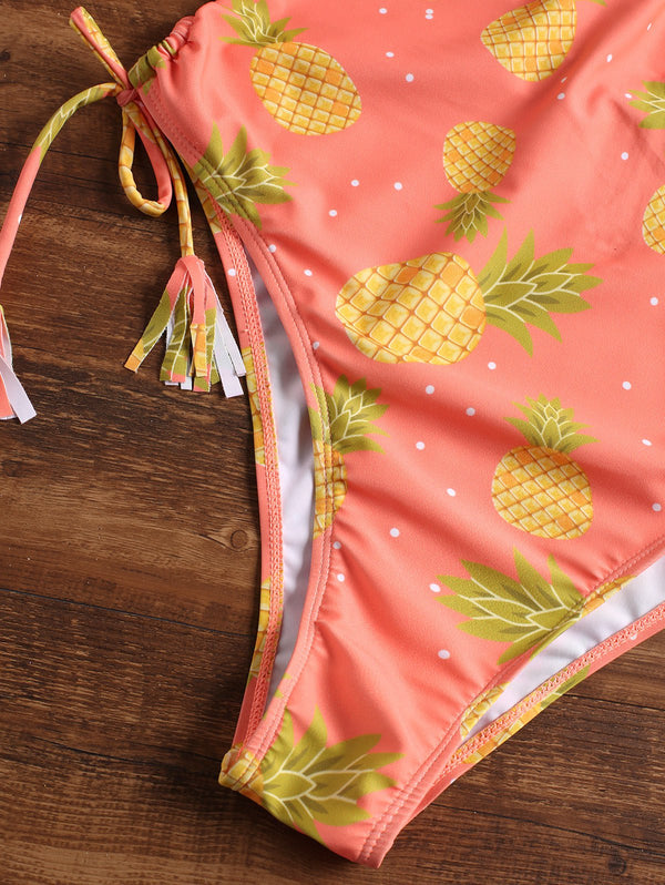 Pineapple Halter Thong One Piece Swimsuit